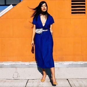 Dresses & Skirts - 70s Plunging Cobalt Knit Dress 🥶 DANK GIRL